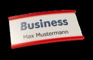 Namensschilder Business transluzent rot mit Nadel