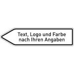Pfeilwegweiser weiß mit Text, Logo u. Farbe,rechtsw.,Alu 2 mm,refl.,1400x350 cm