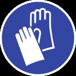 Handschutz benutzen ISO 7010, Kunststoff, Ø 100 mm