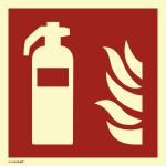 Feuerlöscher, ISO 7010, PVC-U selbstklebend, langnachleucht., 160-mcd, 200x200mm