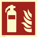Feuerlöscher, ISO 7010, PVC-U selbstklebend, langnachleucht., 160-mcd, 148x148mm