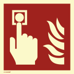 Brandmelder, PVC-U selbstklebend, langnachleuchtend, 160-mcd, 148x148 mm