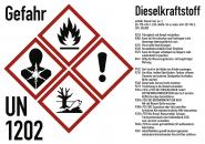 Gefahrstoffkennzeichnung Dieselkraftstoff nach GHS, Folie, 105x74 mm, Idx 2019