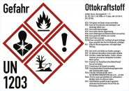 Gefahrstoffkennzeichnung Ottokraftstoff nach GHS, Folie, 105x74 mm, Idx 2019