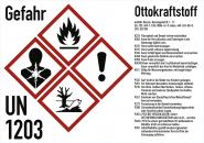 Gefahrstoffkennzeichnung Ottokraftstoff nach GHS, Folie, 210x148 mm, Idx 2019