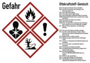 Gefahrstoffkennzeichnung Ottokraftstoff Gemisch, GHS, Folie, 105x74 mm, Idx 2019