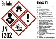 Gefahrstoffkennzeichnung Heizöl nach GHS, Folie, 105x74 mm, Idx 2019