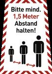 Bitte mind. 1,5 Meter Abstand halten!, Kombischild, Folie, 199x280 mm