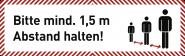 """Deckenabhänger """"Bitte mind. 1,5 m Abstand halten!"""", Aluverbund, 1000x300 mm"""