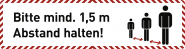 Fußbodenaufkleber Bitte mind. 1,5 m...,Folie m. Acrylatkleber,rutschh.,750x200mm