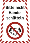 Bitte nicht Hände schütteln, Kombischild, Folie 199x280 mm