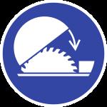 Schutzhaube der Tischkreissäge benutzen ISO 7010, Folie, Ø 50 mm, 10 Stück/Bogen
