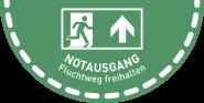 Fußbodenaufkleber Notausgang..., Folie, rutschhemmend, 900x450 mm