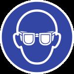 Augenschutz benutzen ISO 7010, Folie, Ø 50 mm, 10 Stück/Bogen