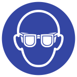 Augenschutz benutzen ISO 7010, Kunststoff, Ø 200 mm