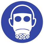 Atemschutz benutzen ISO 7010, Kunststoff, Ø 200 mm