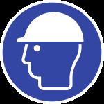 Kopfschutz benutzen ISO 7010, Folie, Ø 100 mm