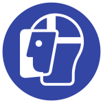 Gesichtsschutz benutzen ISO 7010, Folie, Ø 50 mm, 10 Stück/Bogen