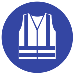Warnweste benutzen ISO 7010, Folie, Ø 50 mm, 10 Stück/Bogen