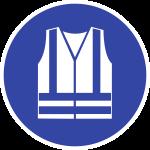 Warnweste benutzen ISO 7010, Folie, Ø 100 mm