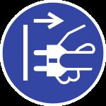 Netzstecker ziehen ISO 7010, Folie, Ø 50 mm, 10 Stück/Bogen