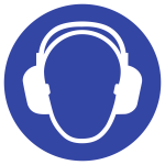 Gehörschutz benutzen ISO 7010, Folie, Ø 50 mm, 10 Stück/Bogen