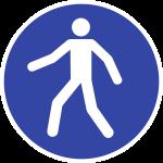 Fußgängerweg benutzen ISO 7010, Folie, Antirutsch, Ø 400 mm