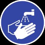 Hände waschen ISO 7010, Folie, Ø 50 mm, 10 Stück/Bogen