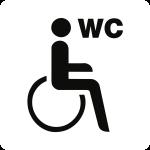 """Piktogramm WC Behinderte/barrierefrei mit Text """"WC"""", Kunststoff, 160x160 mm"""