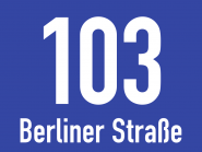 Hausnummernschild mit Straßenangabe, blau, Alu, 200x150 mm