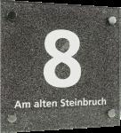 Hausnummernschild mit Straßenangabe, Acrylglas, Schrift weiß, 200x200 mm