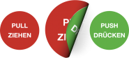 Piktogramm Pull Ziehen/Push Drücken, Folie, doppelseitig, Ø 50 mm