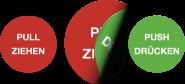 Piktogramm Pull Ziehen/Push Drücken, Folie, doppelseitig, Ø 100 mm