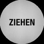 Piktogramm Ziehen, Edelstahl, selbstklebend, Ø 50 mm
