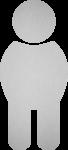 Piktogramm WC Herren, Edelstahl, selbstklebend, 68x150 mm