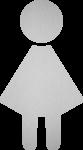 Piktogramm WC Damen, Edelstahl, selbstklebend, 85x150 mm
