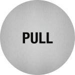 Piktogramm Pull, Edelstahl, selbstklebend, Ø 50 mm