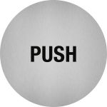 Piktogramm Push, Edelstahl, selbstklebend, Ø 50 mm