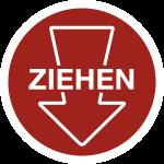 Piktogramm Ziehen mit Pfeil, Folie, Ø 100 mm