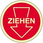 Piktogramm ZIEHEN mit Pfeil, Folie selbstklebend, nachleucht., 10 cm Ø