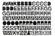 Großbuchstaben schwarz, Folie, 50 mm, 1 Bogen