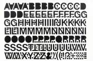 Großbuchstaben schwarz, Folie, 75 mm, 1 Bogen