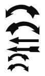 Richtungspfeile schwarz, Folie, 85x145 mm, 6 Pfeile/Bogen