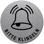 BITTE KLINGELN mit Symbol und Text, Edelstahl, selbstklebend, Ø 5 cm