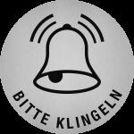 Piktogramm Bitte klingeln, Edelstahl, selbstklebend, Ø 50 mm
