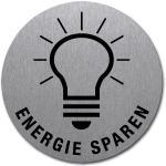 ENERGIE SPAREN mit Symbol und Text, Edelstahl, selbstklebend, Ø 5 cm