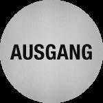 Piktogramm Ausgang, Edelstahl, selbstklebend, Ø 50 mm