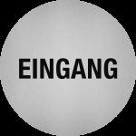 Piktogramm Eingang, Edelstahl, selbstklebend, Ø 50 mm