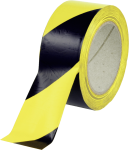 Fußboden-Warnmarkierung linksweisend, Folie, Gelb-Schwarz, Rolle 50 mm x 33 m