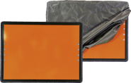 Gefahrgutwarntafel mit Haltebügel u. Haube, Alu, starr, 400x300 mm